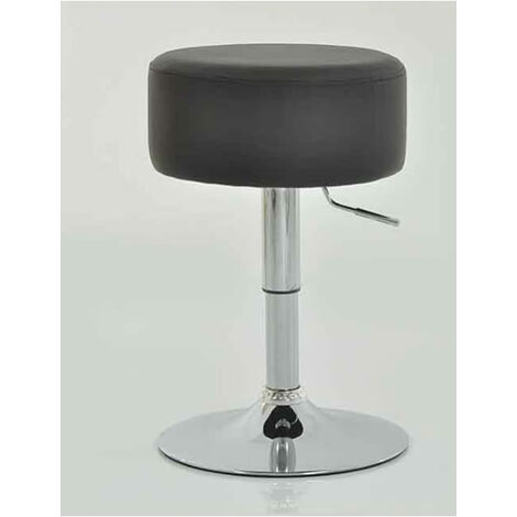 Low Bar Stool Grey Padded Seat Height Adjustable