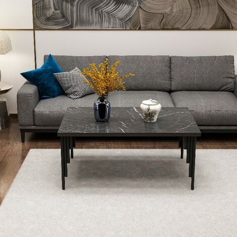 Low coffee table Irems - with shelves - for Living Room - Black Wood, Metal, 92 x 68 x 42 cm