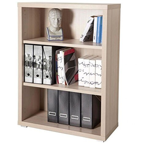 Low Modern Bookcase Real Wood 3 Tier Shelves Modern Design for Office Study SIMPLE