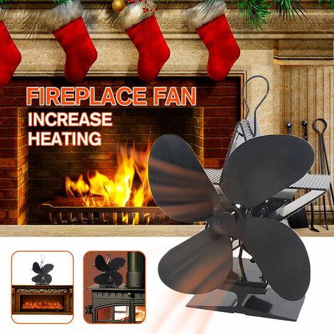 Low Noise Wood Log Burner Double Head 4 Blades Stove Fan Eco Friendly Fireplace Household Winter Warmer
