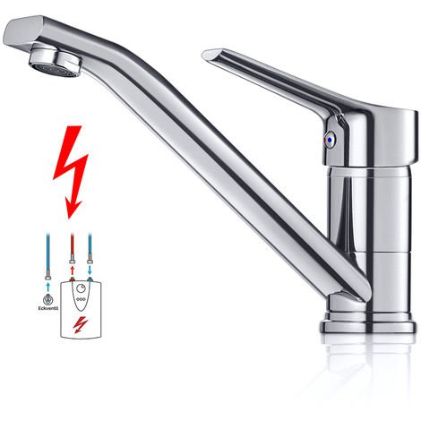 Low Pressure Kitchen Faucet, WOOHSE 360 ° Swivel Single Lever Mixer for Hot and Cold Water