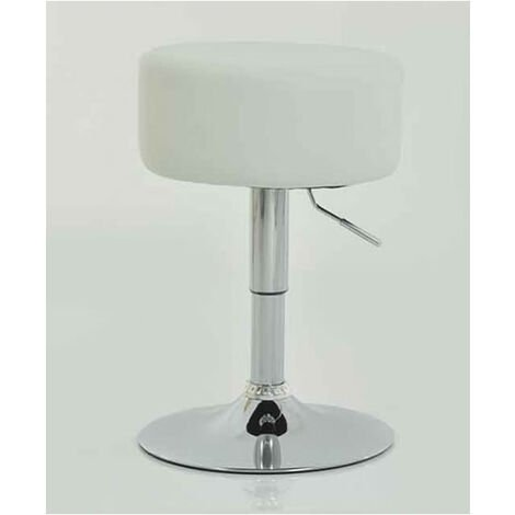 Low Small Bar Stool - White Padded Stool