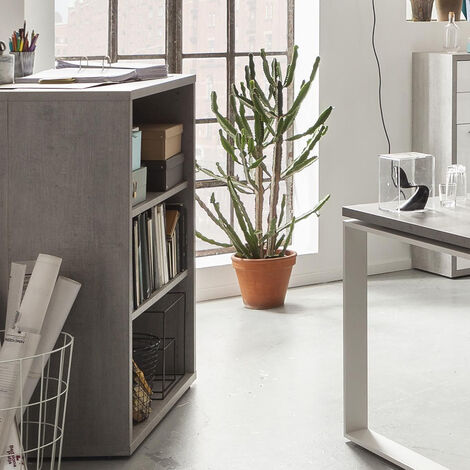 Low Wide Bookcase Bookshelf Real Wood 3 Tier Shelves for Office Studio CEMENT