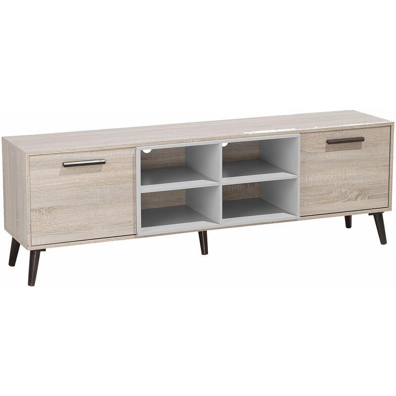 TV Möbel Hellbraun Grau Spanplatte Gummibaumholz 60 x 180 x 40 cm Modern Elegant Praktisch Multifunktional 2 Schränke Wohnzimmer