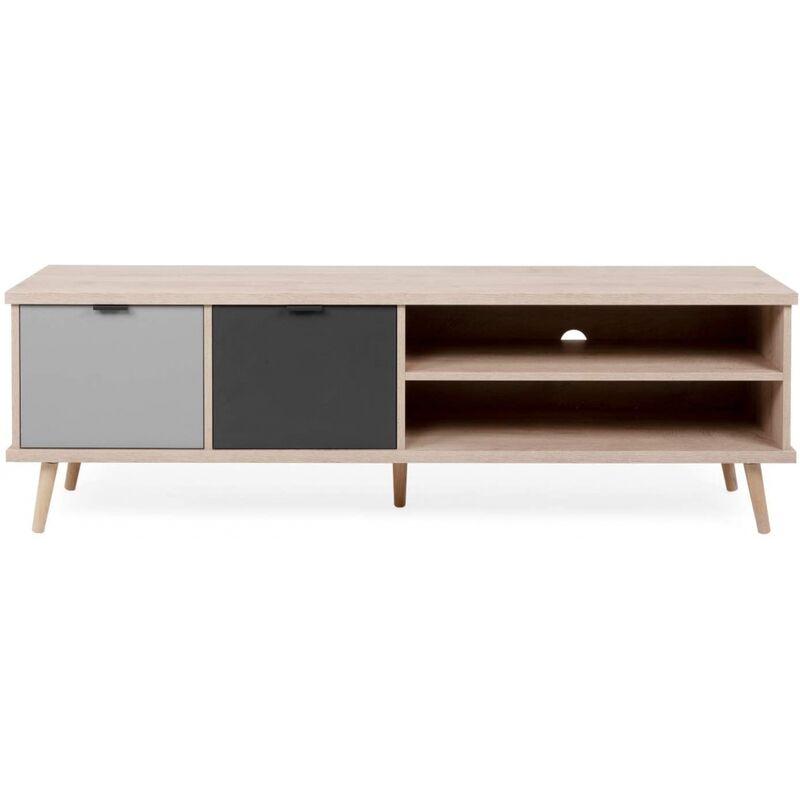 Finori - Lowboard Hifi Fernseher Kommode Beistellkommode 002934 EPIK 55 Elegance Endgrain / Grau ca. 160 cm-'SW15252'