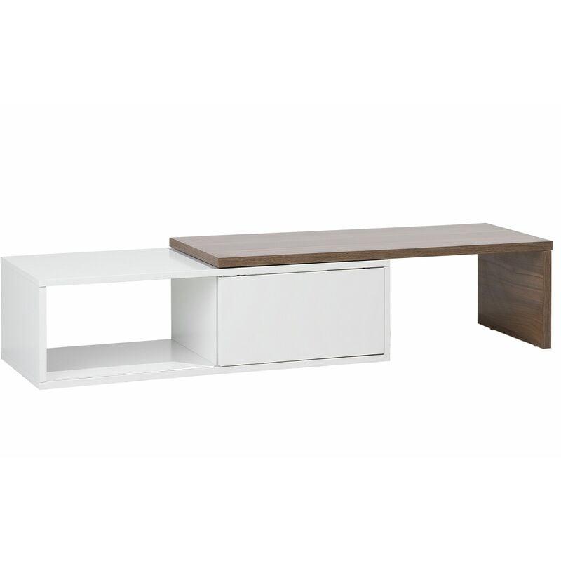 TV Möbel Dunkler Holzfarbton Weiß MDF Platte 2932 x 110159 x 40 cm Modern Elegant Glamourös Schick Praktisch Wohnzimmer