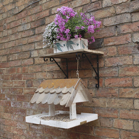 Loxwood hanging bird table with shingle roof and chain included