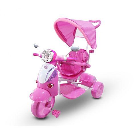 LT 854 Triciclo con pedales para bebés con 3 canciones en capota varios colores