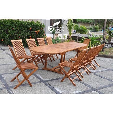 Lubok : Salon de jardin Teck huilé 10 personnes - Table ovale + 10 ...