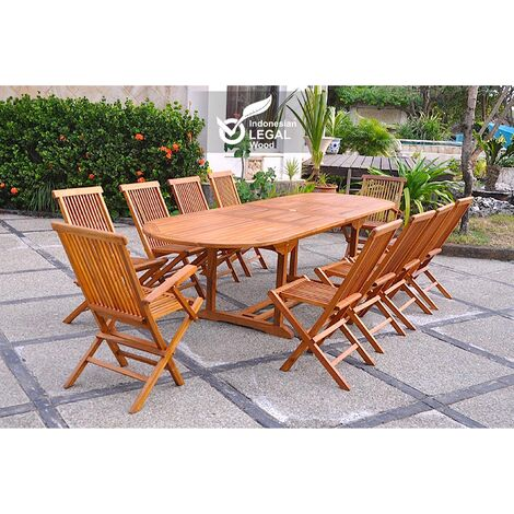 Lubok : Salon de jardin Teck huilé 10 personnes - Table ovale + 8 ...