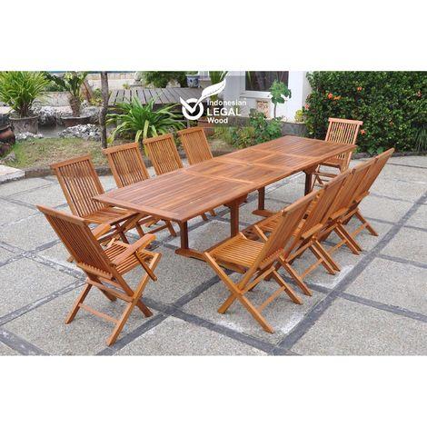 Lubok : Salon de jardin Teck huilé 10 personnes - Table ...