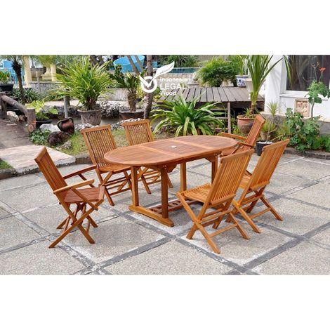 Lubok : Salon de jardin Teck huilé 6 personnes - Table ovale + 4 ...