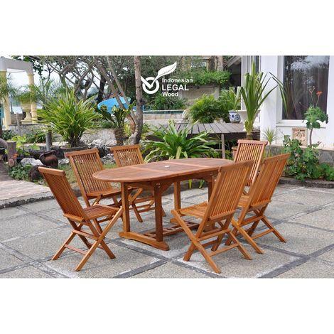 Lubok : Salon de jardin Teck huilé 6 personnes - Table ovale ...