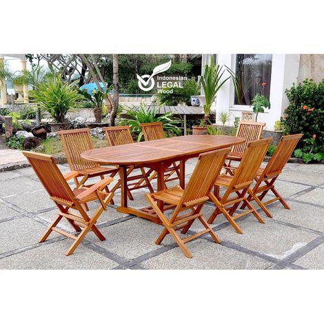 Lubok : Salon de jardin Teck huilé 8 personnes - Table ovale + 6 chaises + 2 fauteuils