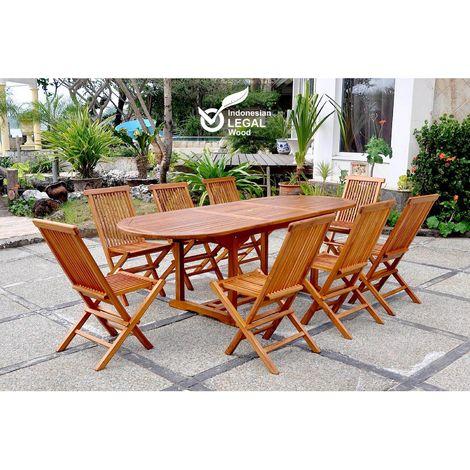 Lubok : Salon de jardin Teck huilé 8 personnes - Table ovale + 8 chaises