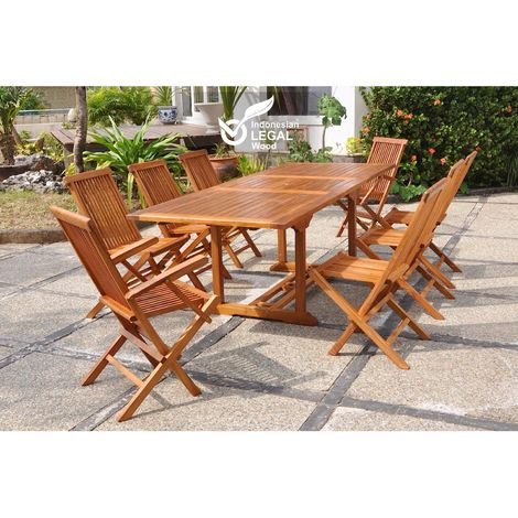 Lubok : Salon de jardin Teck huilé 8 personnes - Table rectangle + 6  chaises + 2 fauteuils