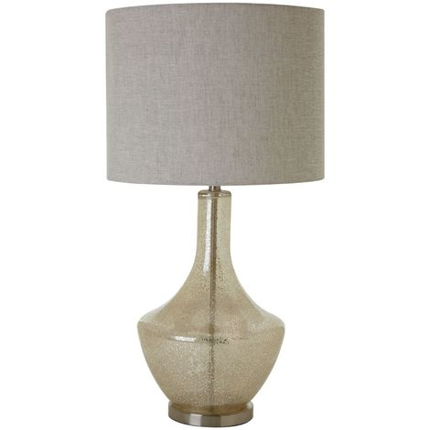 Luca Table Lamp (EU Plug), Champagne Glass / Metal, Natural Fabric Shade