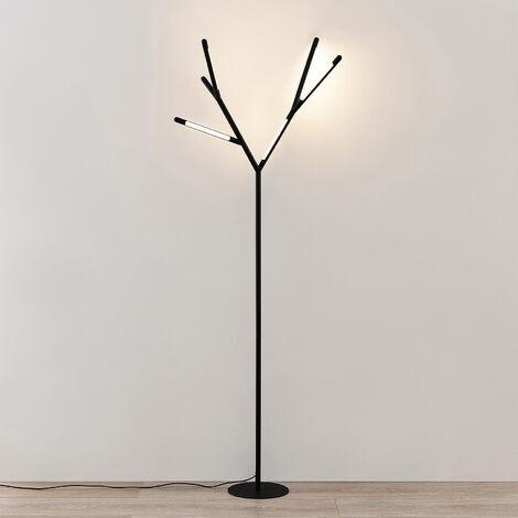 Lucande Cuerno lámpara de pie LED, blanco y negro