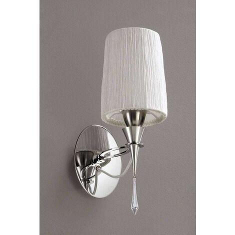 """main image of """"Lucca wall light with switch 1 Bulb E27, polished chrome with white lampshade & transparent crystal"""""""