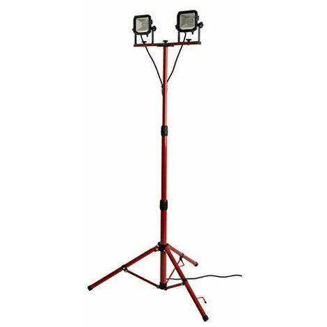 luceco ultraflache Projecteur LED de chantier 2x 15W avec trépied 2x 1200lm, 5000K IP65de Protégé, classe d\'efficacité énergétique A A _ plus, 1pièce, lswt212br3X-E2