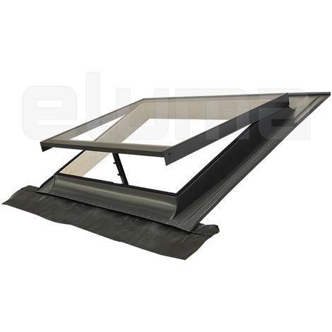 Lucernario - Finestra per tetto in Legno e Alluminio con Vetro Temperato Antigrandine 4 mm
