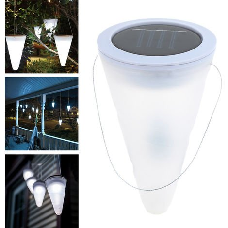 Luces colgantes solares conicas solares LED, luces decorativas, blanca