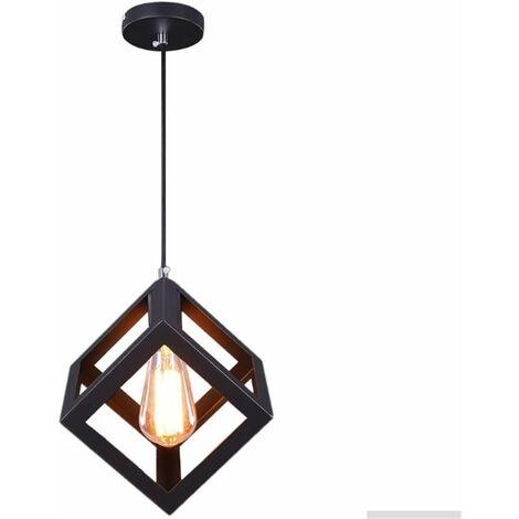 Luces colgantes,E27 Lámpara de Techo Moderna Cubo de metal Iluminación de Hierro Suspensa Estilo simple decoracion para Dormitorio Restaurante Escalera Loft (Negro)