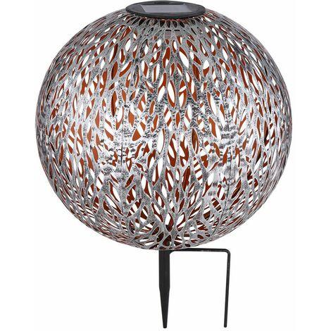 Luces de bola solares jardín de luz de bola solar al aire libre, perforaciones de decoración, oro plateado antiguo, batería LED, DxH 27 x 38 cm