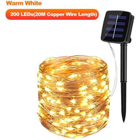 Luces de cadena con energia solar, 200 LED,20M,Blanco calido