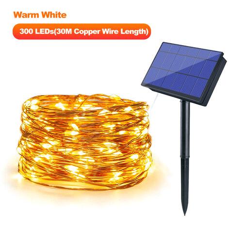 Luces de cadena con energia solar, 300 LED,30M,Blanco calido