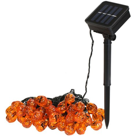 Luces de cadena de calabaza de Halloween, Lamparas de cadena LED solares, Luces de decoracion para fiestas
