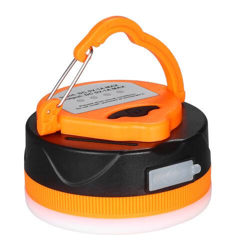 Luces de camping Carpa USB recargable Linterna camping 1600mAh Banco de alimentacion LED de luz al aire libre con 5 modos, Naranja