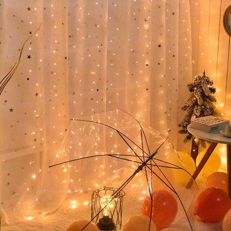 Luces de cortina Luces de hadas Cadena,3 * 3, blanco c¨¢lido
