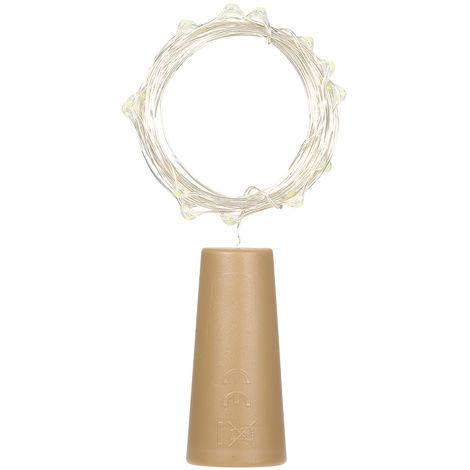 Luces de cuerda Lampara de ambiente de tapon de botella, 2 metros 20 LED, blanco calido, 6 piezas