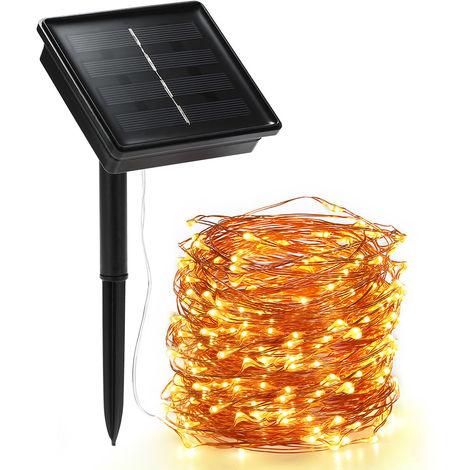 Luces de cuerda solar, 72 pies 100 LED luz de cuerda, 8 modos, blanco calido