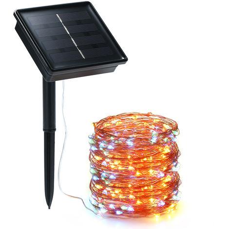 Luces de cuerda solar, 72 pies 100 LED luz de cuerda, 8 modos, Vistoso