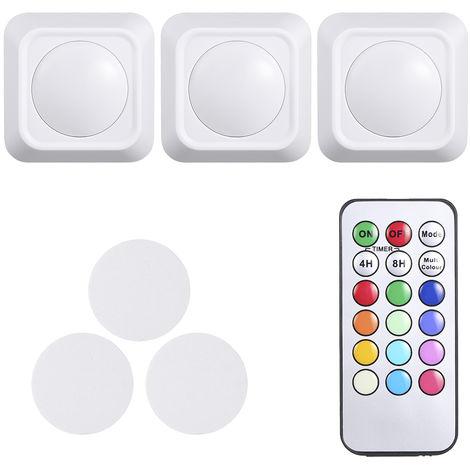 Luces de disco LED de cambio de color RGB de 4.5V 1W, paquete de 3