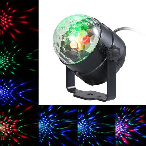 Luces de escenario LED de efecto de bola giratoria activadas por sonido, LED RGB de 3W