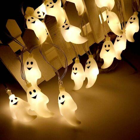 Luces de hadas de Halloween 30 LED Ghost Spirit Light para exterior Cadena de luz Fiesta de halloween de Navidad Parque Lavaplatos Decoración blanca cálida