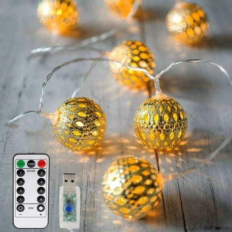 Luces de hadas LED, 20 guirnaldas LED marroquíes 3M 8 modos regulables con control remoto, guirnaldas de bolas navideñas orientales con USB NO funciona con pilas, blanco cálido