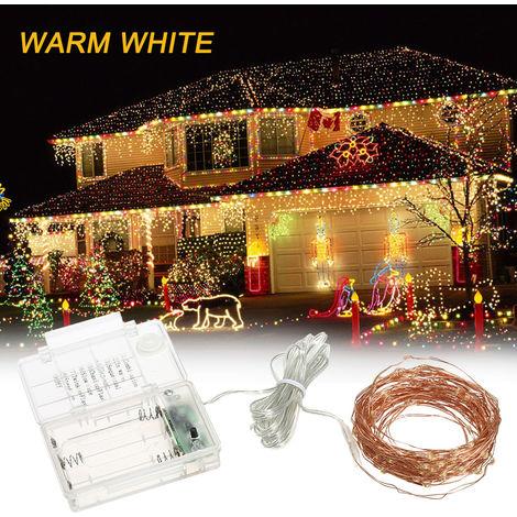 Luces de la secuencia 39ft 100 Cuerda de luz LED 8 modos de calentamiento luces blancas de la fiesta de jardin Inicio decoracion del festival