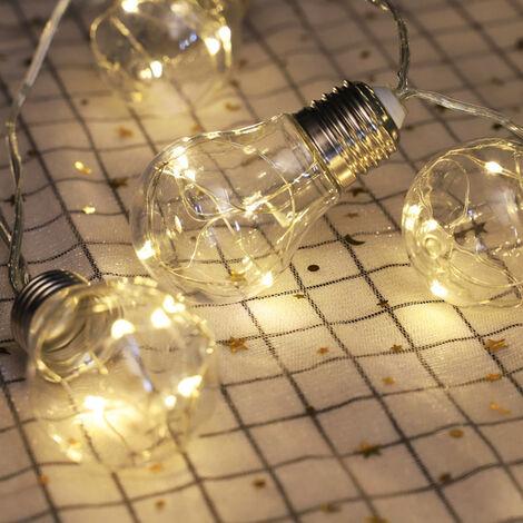 Luces de la secuencia al aire libre 3,3 pies LED luces de cadena con 10 bombillas impermeable blanca caliente irrompibles secuencia de hadas luces interiores luces de cadena para el partido de dormitorio, blanco calido