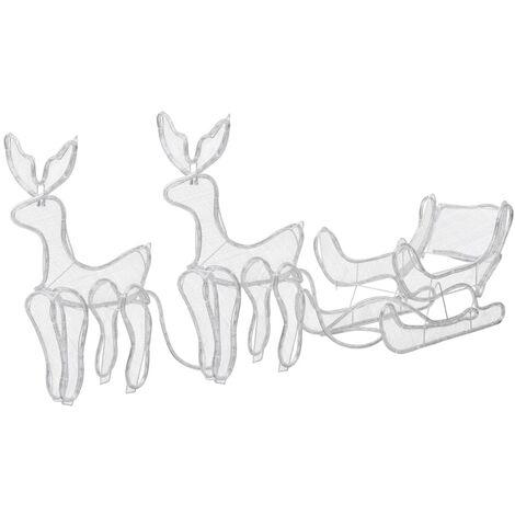 Luces de Navidad 2 renos y trineo con malla 320 LEDs