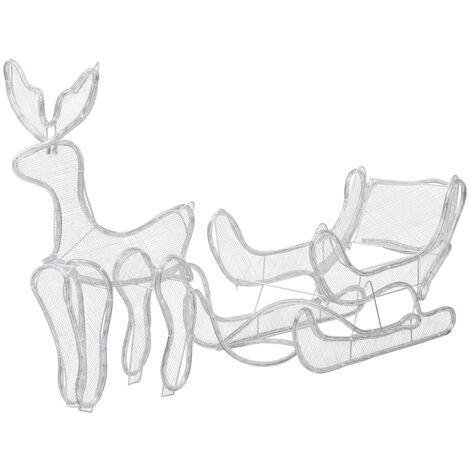 Luces de Navidad de reno y trineo con malla 216 LEDs
