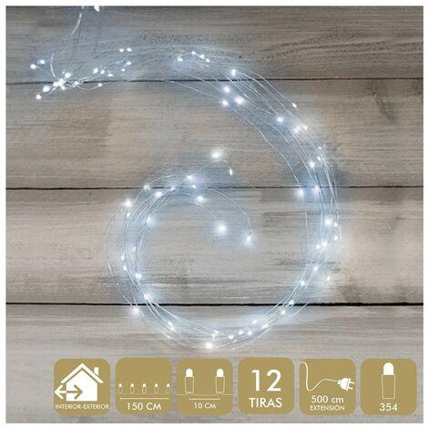 Luces de Navidad en color Blanco, 350 Micro-Led de Metal. Para Interior y Exterior 150 CM.-Hogarymas-