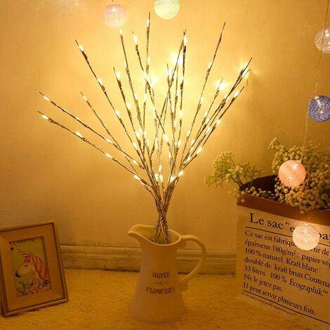 Luces de rama, 30 pulgadas, 20 LED, rama de sauce, rama iluminada, árbol de bricolaje, ramas de sauce, lámpara, ramitas con pilas (blanco cálido)