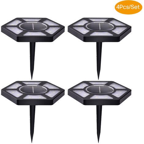 Luces de tierra solares 4Pcs, lampara al aire libre del cesped de la iluminacion del paisaje 12LED