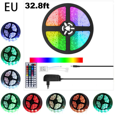 Luces de tira, 5m 32.8ft RGB LED de luz de tira 5050 Luces de cinta LED, color cambiante LED Franja con control remoto para el hogar iluminacion flexible tira luces para la decoracion del hogar Bar (enchufe de la UE), la Union Europea, 32.8ft
