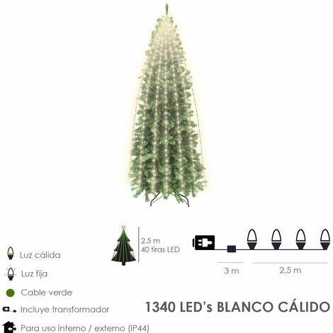 Luces Navidad 1340 Leds Cascada Cubrearbol Blanco Calido. Ip44