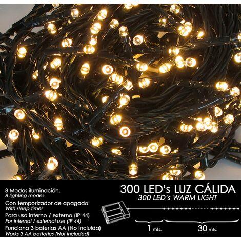 Luces Navidad A Pilas 300 Leds Luz Calida Interior / Exterior (IP44)